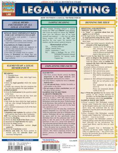 Legal Writing Quick Reference Guide By Barcharts, Inc. (COR)